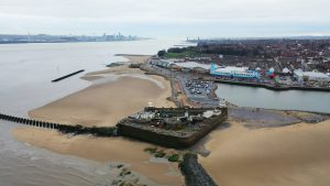 Aerial drone view over New Brighton a seaside area of the town of Wirral